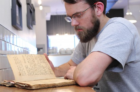 Paul Rawlinson at Baltzersen's, using his grandmother's Swedish recipe book to inspire the dishes at his Scandinavian cafe