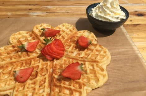 Celebrate Wimbledon in Harrogate with Wimbledon Waffles at Baltzersen's Scandinavian cafe.