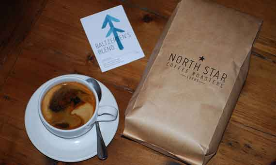 Photo of North Star Coffee Roasters Baltzersen's Blend coffee and an americana made with that coffee at Baltzersen's Scandinavian cafe in Harrogate for their blog about americana vs batch brew coffee