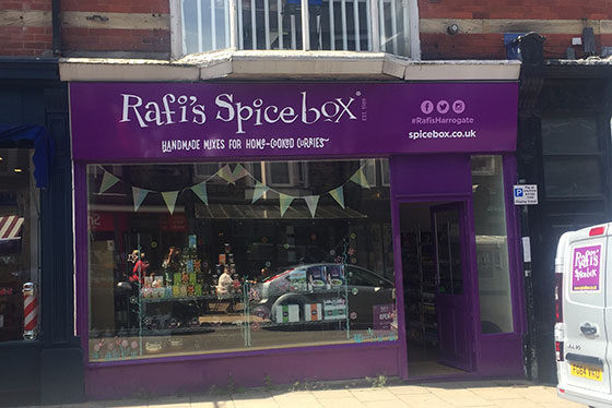 Photo os Rafi's spice box in Harrogate for Baltzersne's Scandinavian cafe blog about independent businesses on Commercial street