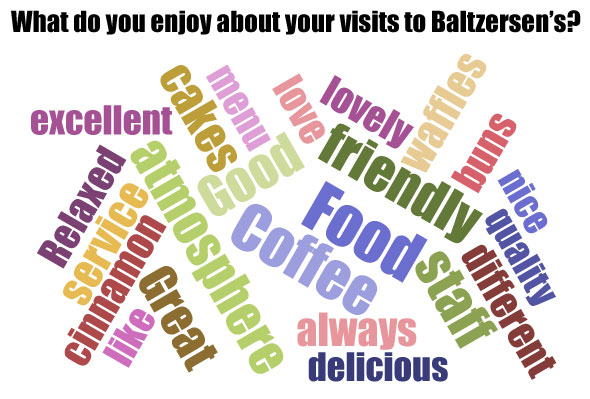 Wordcloud with reasons to visit Baltzersen's