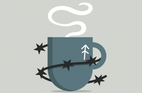 Steaming coffee cup with barbed wire around. Logo for the Baltzersen's Loyalty Amnesty campaign.