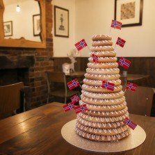 Traditional Kransekake made at Baltzersen's in Harrogate.
