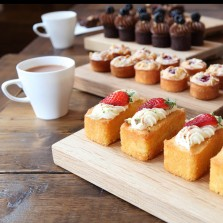Mini-cakes including gluten-free options are baked in-house at Baltzersen's in Harrogate