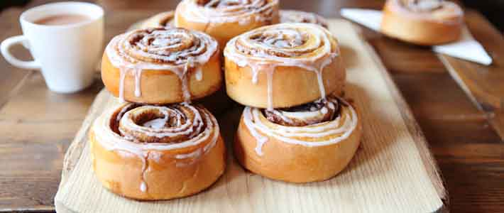 Pastries, cinnamon buns, baked fresh every morning