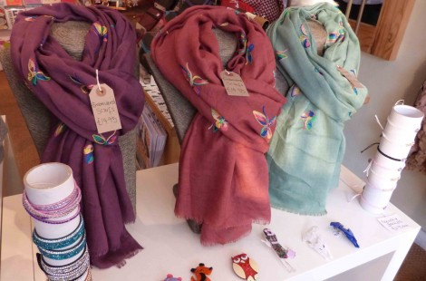 Scarves at Shine in Harrogate; an independent gift shop.