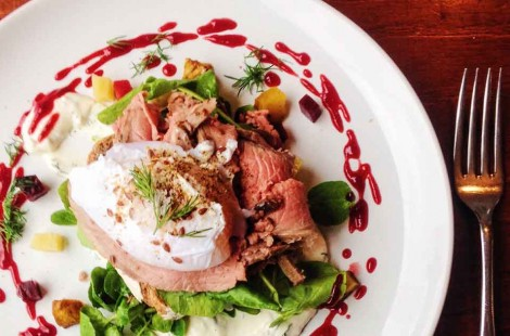 photo of salt beef, danish eggs smørrebrød with beetroot syrup and pickled beets in Upshot Espresso, Sheffield