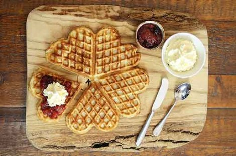Photo of a waffles at Baltzersen's Scandinavian cafe in harrogate for international waffle day