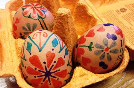 Photo of painted eggs in Scandinavian cafe Baltzersen's in Harrogate