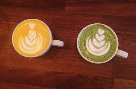 photo os Matcha and turmeric lattes at Baltzersen's Scandinavian cafe in Harrogate