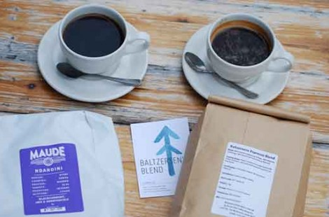 Photo of batch brew filter coffee made with Kenyan coffee by Maude coffee roasters in Leeds and an americano made with North star coffee roasters in leeds at Baltzersen's Scandinavian cafe in Harrogate for their blog about americana vs batch brew coffee