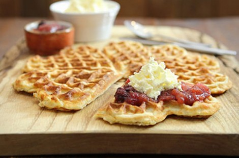 Photo of gluten free food in harrogate, waffles at Baltzersen's Scandinavian cafe in Harrogate